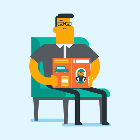 Caucasian white man reading a magazine. Young man sitting on an armchair with a magazine in hands. Guy resting at home with a journal. Leisure concept. Vector cartoon illustration. Square layout.