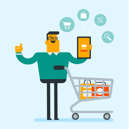 Young caucasian white man showing tablet computer with a cart on the screen. Man using tablet for online shopping. Concept of ecommerce and online shopping. Vector cartoon illustration. Square layout. Illustration