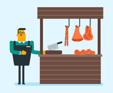 Young caucasian white butcher offering meat in the butchery. Smiling butcher with knife standing next to the counter in the butchery. Retail small business concept. Vector cartoon illustration. 向量圖像