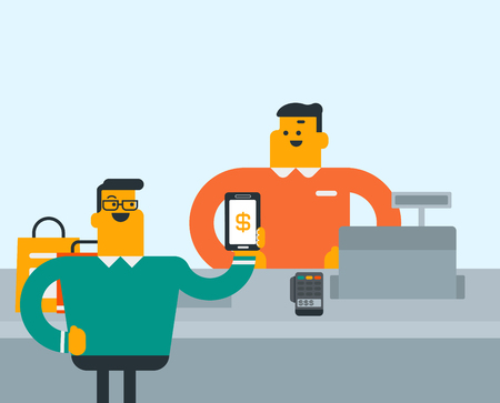 Young caucasian white man paying wireless with his smartphone. Cashier accepting payment for purchase with a smartphone. Shopping technology concept. Vector cartoon illustration.