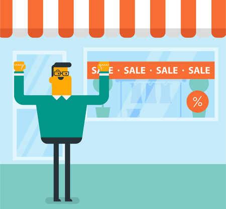 Caucasian white man standing in front of clothes shop with sale sign. Man holding hands up in front of storefront with text sale. Shopping, discount concept. Vector cartoon illustration. Square layout