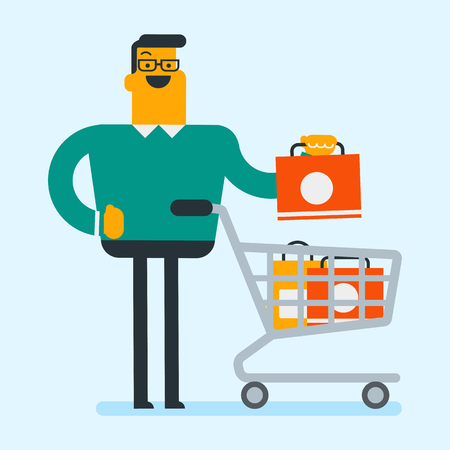 Happy caucasian white man pushing cart full of shopping bags. Young smiling consumer standing with a lot of bags. Retail business and shopping concept. Vector cartoon illustration. Square layout.