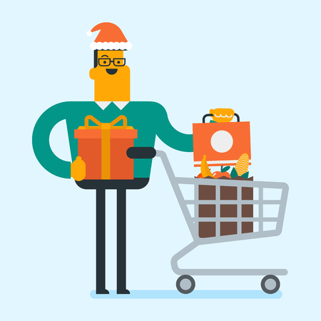 Caucasian white man in santa hat standing next to the shopping cart with shopping bags full of groceries and holding gift box. Man buying christmas gifts. Vector cartoon illustration. Square layout. Illustration