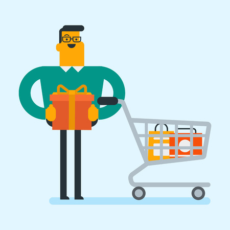 Joyful caucasian white man buying birthday gift. Man holding wrapped birthday gift box with bow while standing next to the shopping cart with shopping bags. Vector cartoon illustration. Square layout.