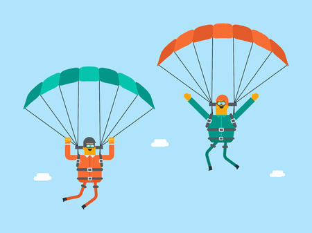 Two caucasian white men flying with a parachute. Young happy men paragliding on a parachute. Professional parachutists performing sky dive jump. Vector cartoon illustration. Horizontal layout.