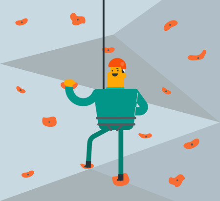 Caucasian white climber in protective helmet climbing on a rock wall indoors at the gym. Young smiling man climbing on a mountain with a safety rope. Vector cartoon illustration. Square layout.