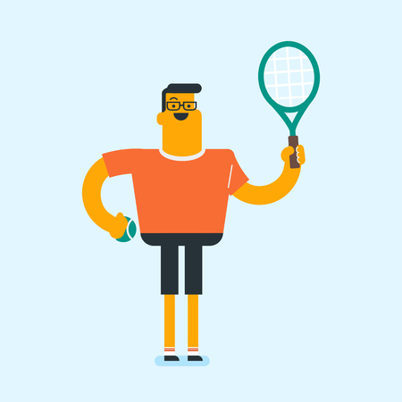 Caucasian white smiling tennis player holding a tennis racket and a ball. Cheerful man playing tennis. Concept of sport and physical activity. Vector cartoon illustration. Square layout. Ilustracja