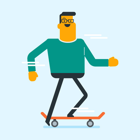 Caucasian white man riding a skateboard. Young happy sportsman skateboarding. Man exercising with a skateboard. Leisure activities and sport concept. Vector cartoon illustration. Square layout. Illustration