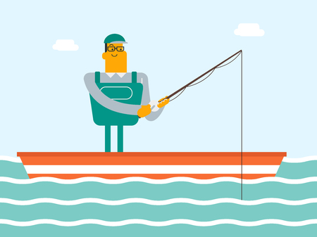 Happy caucasian white fisherman fishing on the lake from the boat. Man relaxing during fishing. Angler standing in the boat with a fishing-rod in hands. Vector cartoon illustration. Horizontal layout.