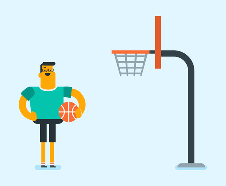 Young caucasian white basketball player standing on the court. Sportsman standing next to the basketball basket with a ball in hand. Concept of sport and physical activity. Vector cartoon illustration