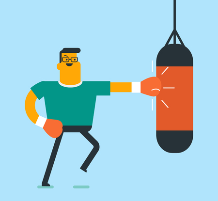 Smiling caucasian white boxer wearing red boxing gloves and hitting a boxing bag. Male boxer exercising with a heavy punching bag during training. Vector cartoon illustration. Square layout.