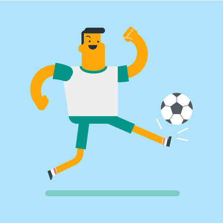 Young caucasian white soccer player kicking the ball during a game. Male football player juggling with a soccer ball. Concept of sport and physical activity. Vector cartoon illustration. Square layout