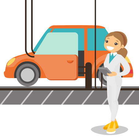 Caucasian white worker of factory controlling modern automated assembly line for cars. Happy young engineer at work at a car factory. Concept of car production. Vector cartoon illustration. Illustration