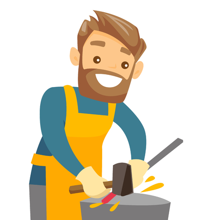 Caucasian white blacksmith working metal with hammer on the anvil in the forge. Man at work in a smithy. Blacksmith forging the molten metal on anvil. Vector cartoon illustration. Square layout.