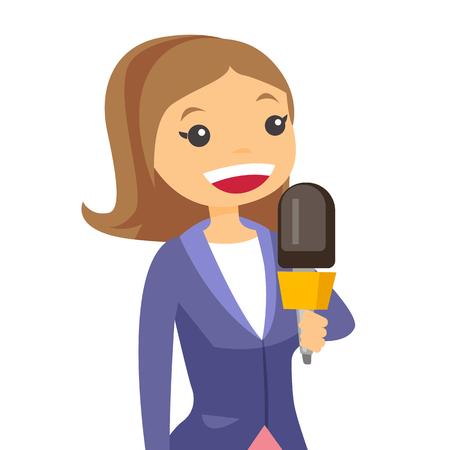 Profesjonalna dziennikarka kaukaska z mikrofonem przedstawiająca wiadomości. Młody operator, reporter filmujący. Reporter i operator nagrywający wiadomości. Ilustracja kreskówka wektor. Układ kwadratowy.