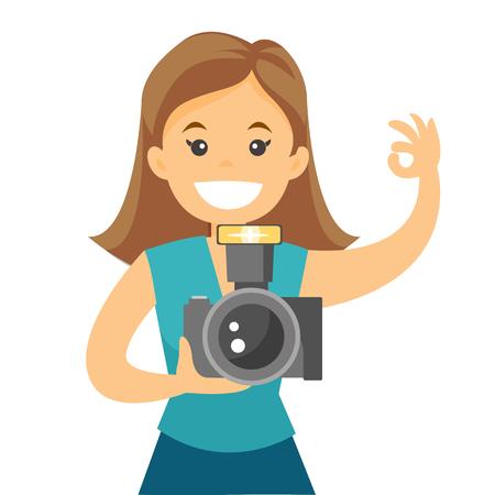 Female photographer taking a photo. Vettoriali