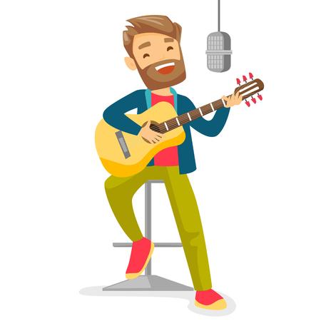 Mężczyzna muzyk gra na gitarze. Ilustracje wektorowe