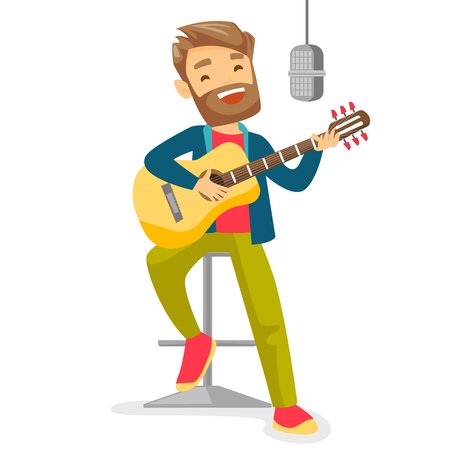 Male musician playing guitar. Stock Illustratie
