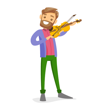 Young smiling male musician playing violin. Stock Illustratie