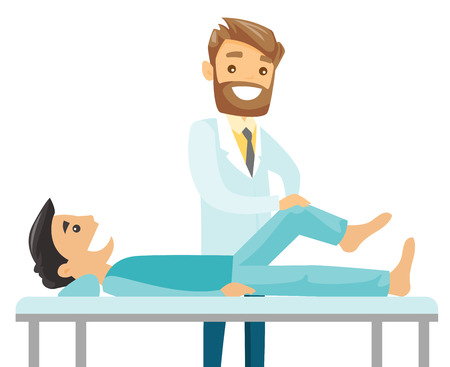 Caucasian white physiotherapist doctor checking the ankle of a patient. Physio giving a leg massage to a patient. Medicine and health care concept. Vector cartoon illustration. Horizontal layout.