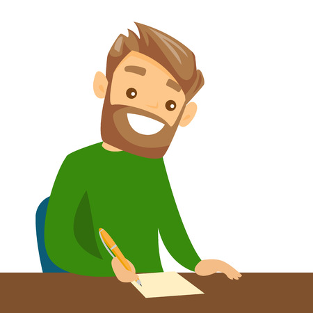 Male student sitting at the table with a pen and paper, writing notes. Illustration