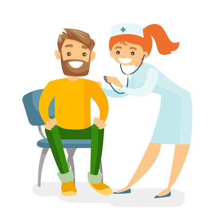 Young caucasian white doctor listening to the heart beat of a frightened patient with a stethoscope. Scared patient visiting a doctor to check the heart. Vector cartoon illustration. Square layout. Illustration