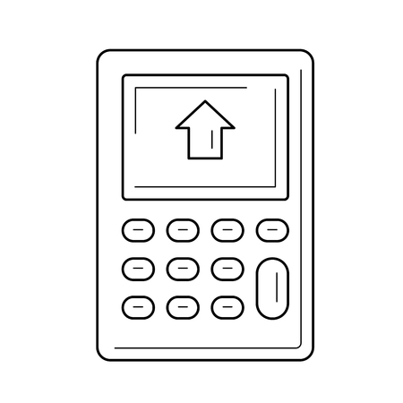 Calculator with house on display vector line icon isolated on white background. Counting of house bills on a calculator line icon for infographic, website or app. Ilustração