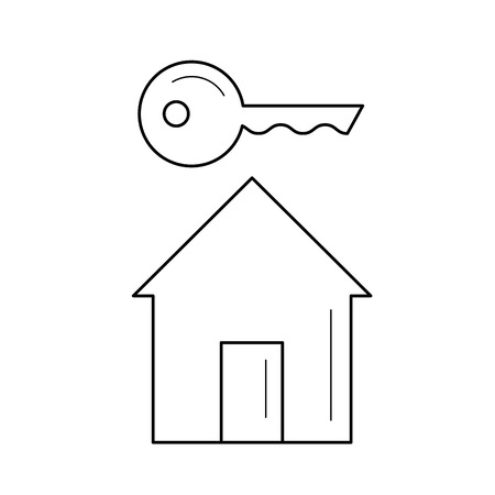 New house key vector line icon isolated on white background. House key line icon for infographic, website or app.