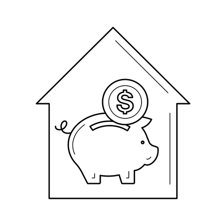Real estate investment vector line icon isolated on white background. House with piggy bank line icon for infographic, website or app. Property investment concept.