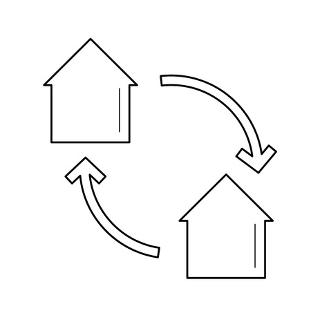 House exchange vector line icon isolated on white background. Bartering of real estate line icon for infographic, website or app. Real estate exchange concept.