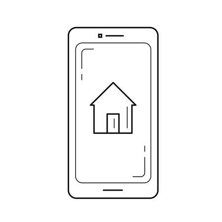 Real estate website vector line icon isolated on white background. Smartphone with real estate website on a screen line icon for infographic, website or app.