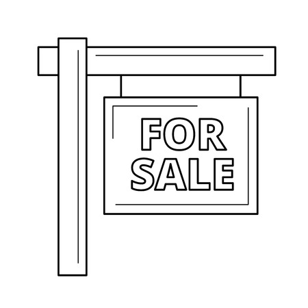 For sale sign line icon isolated on white background. Vector line icon of real estate for sale sign for infographic, website or app. Stock Illustratie