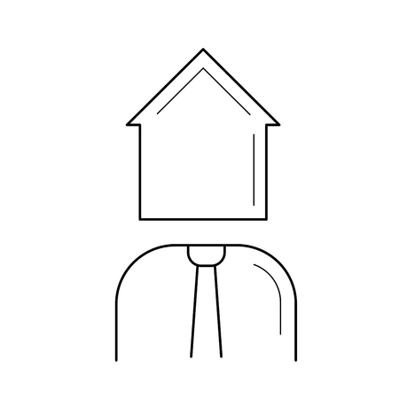 Real estate agent line icon isolated on white background. Vector line icon of real estate agent with house instead of head for infographic, website or app.