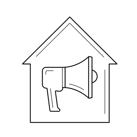 House alarm vector line icon isolated on white background. Megaphone in building - house alarm line icon for infographic, website or app.