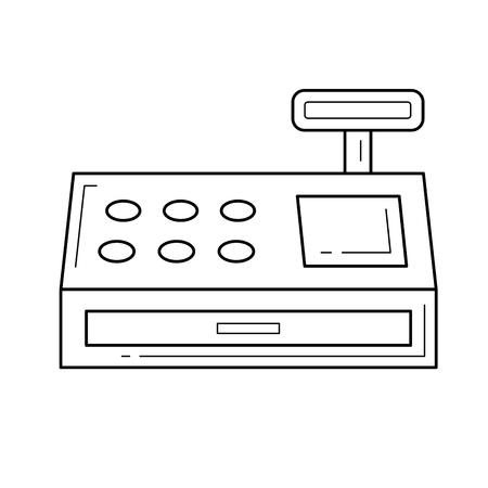 Cash register line icon isolated on white background. Vector line icon of cash register for infographic, website or app.