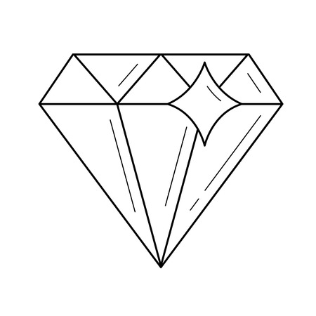 Diamond line icon isolated on white background. Vector line icon of diamond for infographic, website or app. Ilustrace