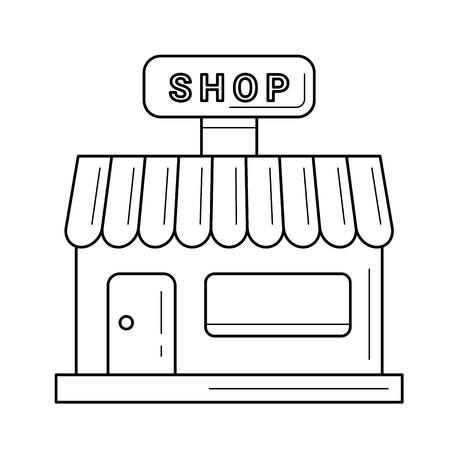 Shop vector line icon isolated on white background. Front view of store line icon for infographic, website or app.
