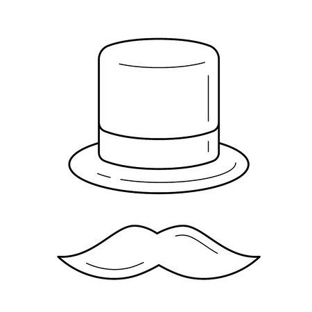 Mustache and top hat vector line icon isolated on white background. Top hat and mustache line icon for infographic, website or app.