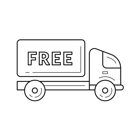 Free delivery truck vector line icon isolated on white background. Free delivery van line icon for infographic, website or app.