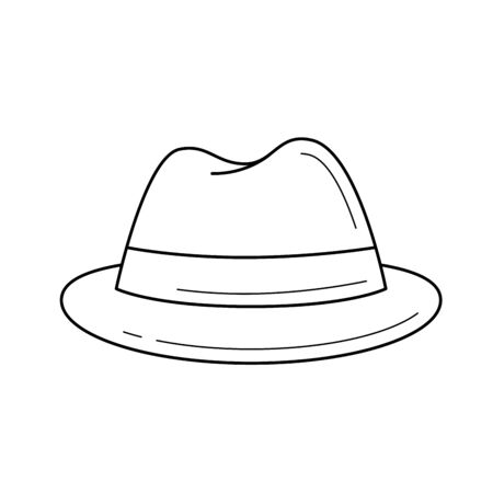 Felt hat vector line icon isolated on white background. Male felt hat line icon for infographic, website or app. 일러스트