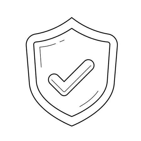 Quality approved vector line icon isolated on white background. Shield with tick line icon for infographic, website or app. Quality assurance concept.
