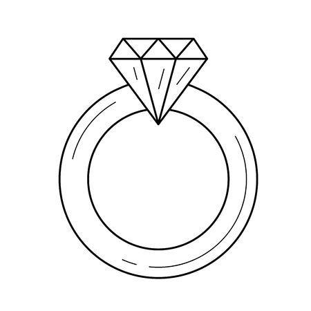 Diamond ring vector line icon isolated on white background. Jewellery - diamond ring line icon for infographic, website or app. Ilustrace