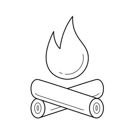 Campfire vector line icon isolated on white background. Campfire line icon for infographic, website or app. Icon designed on a grid system. Illustration