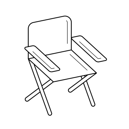 Folding chair vector line icon isolated on white background. Folding chair line icon for infographic, website or app. Icon designed on a grid system.
