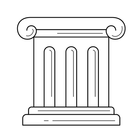 Antique column vector line icon isolated on white background. Antique column line icon for infographic, website or app. Icon designed on a grid system. Vettoriali