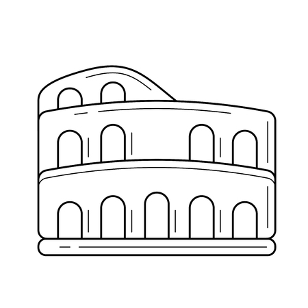 Colosseum vector line icon isolated on white background for infographic, website or app. Icon designed on a grid system.