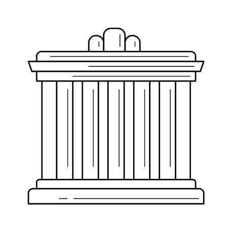 Athens palace vector line icon isolated on white background for infographic, website or app. Icon designed on a grid system.