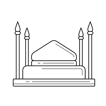 Mosque vector line icon isolated on white background for infographic, website or app. Icon designed on a grid system.