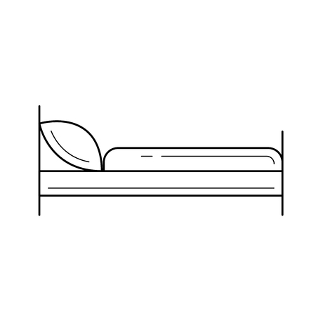 Bed vector line icon isolated on white background  for infographic, website or app. Icon designed on a grid system.