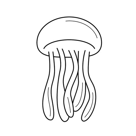 Jellyfish line icon isolated on white background for infographic, website or app. Icon designed on a grid system.